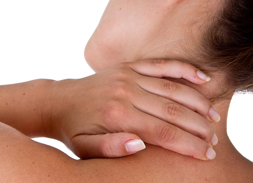 lady holding neck in pain